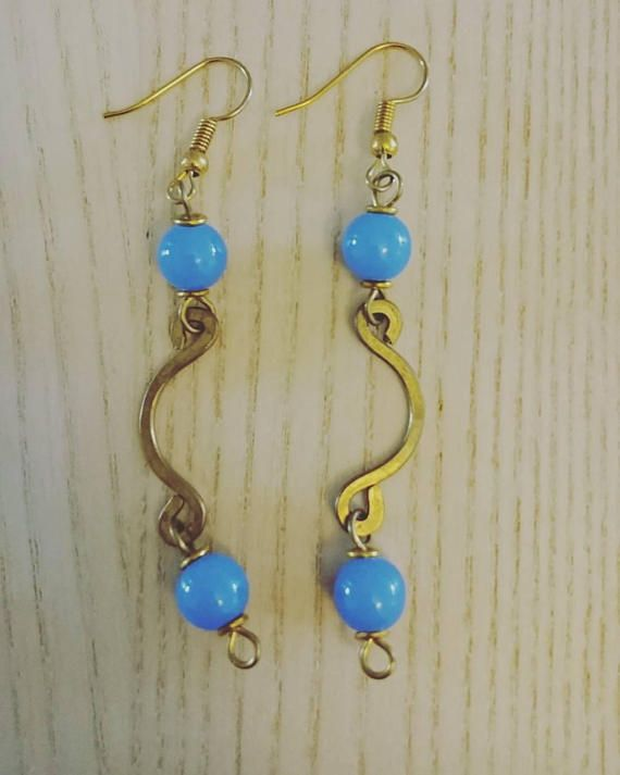 Afrocentric handcrafted earrings blue dangling earrings