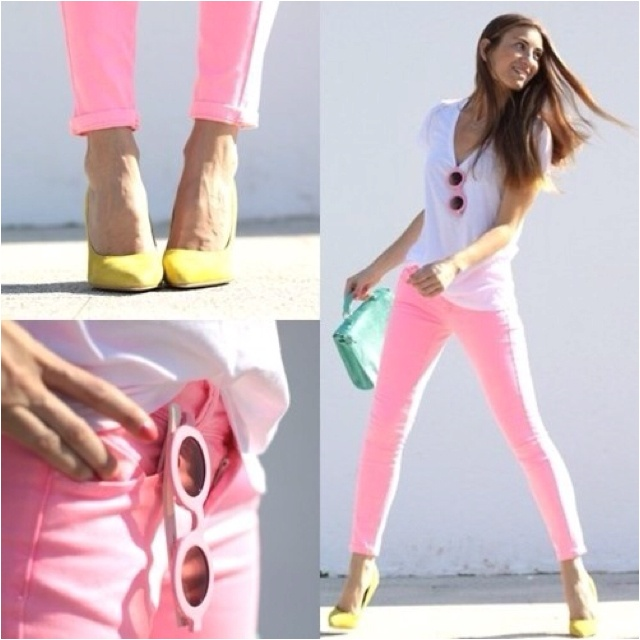 PastelsPastel, Colors Combos, Fashion, Skinny Jeans, Colors Jeans, Style, Pink Pants, Outfit, Pink Jeans