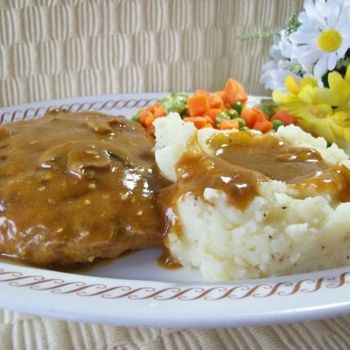 Smothered Hamburger Steak: ground beef, 1 (8 ounce) can cream of mushroom soup, 1 cup water, 1 cup milk (1/2 to 1 cup), 1 (1 ounce) pkg brown gravy mix