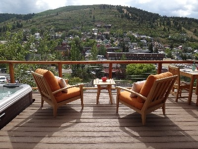 Park City - Old Town  Hot tub, and designer outdoor teak furniture with panoramic views.