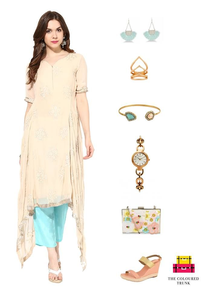 Here's how you can work soft pastels into your ethnic outfit for a perfect day look!  Asymmetrical embroidered kurta with straight pants: #House of Trove Drop tassel earrings: #Wanderlust Jewellery Multi leaf ring: #Vajor Embellished cuff bracelet: #Fayon Watch: #DKNY Clutch: #New Look Shoes: #Celebrity #TCTSIGNATURELOOKS FOR WOMEN #Ethnic #Festive #TCT #TheColouredTrunk