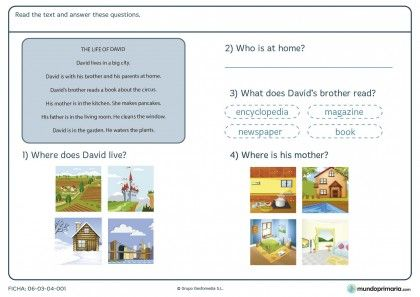 Ficha de answer the questions about the text para primaria