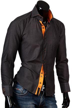 Купить Темно серая рубашка Alex Dandy с французским воротником фото недорого в…