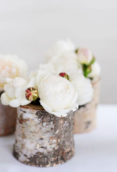 Lily and Bramwell | Event hire Adelaide, South Australia   Birch wood votive/vase  Votive tea light candle holder or vase for a sweet little floral arrangement.