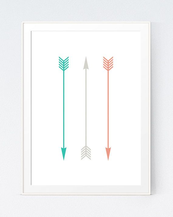3 Arrows Print, Coral Mint Peach and Grey Arrows, Green Gray and Mint Minimal Printable, Modern Arrows Wall Decorations, INSTANT DOWNLOAD