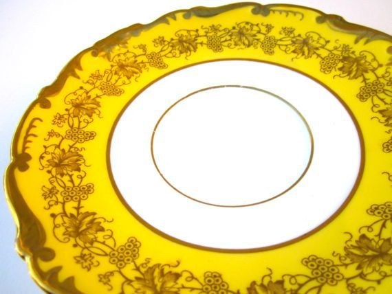 Coalport Hazelton Yellow Gold Plates Dishes Saucers by ElmPlace, $28.00 #vintage_dishes
