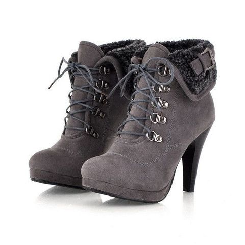 Solid Thin High Heels Pointed Toe Lace up Snow Boots