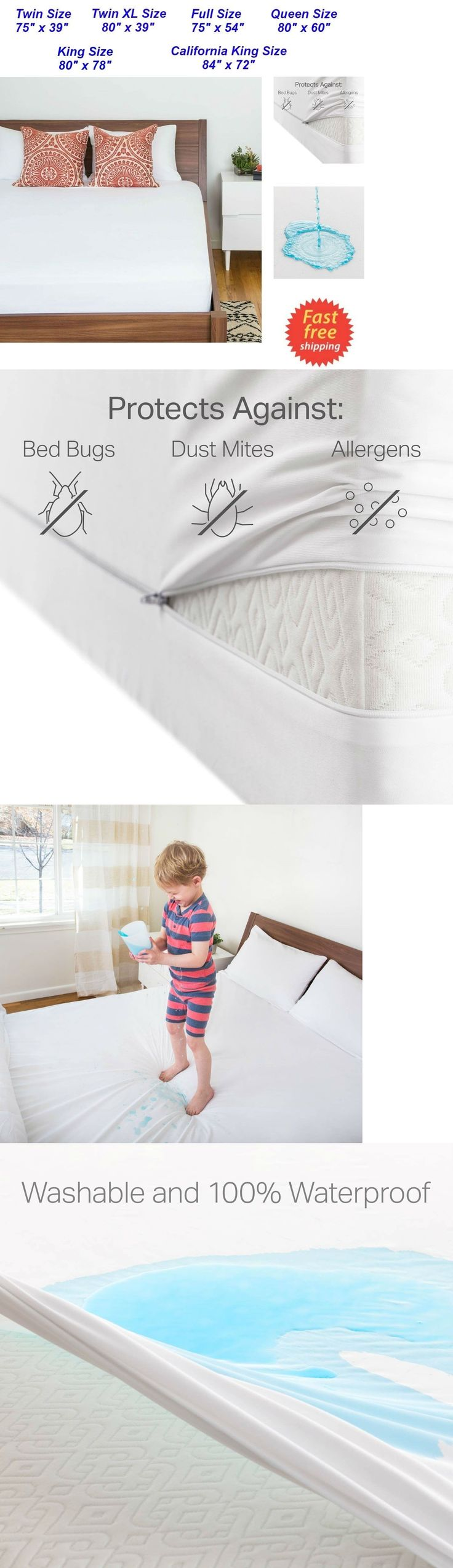 Mattress Pads and Feather Beds 175751: Zippered Waterproof Mattress  Protector King Queen Full Twin Size