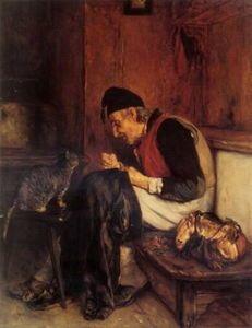 Old Man que coudre - (Nikolaos Gyzis)
