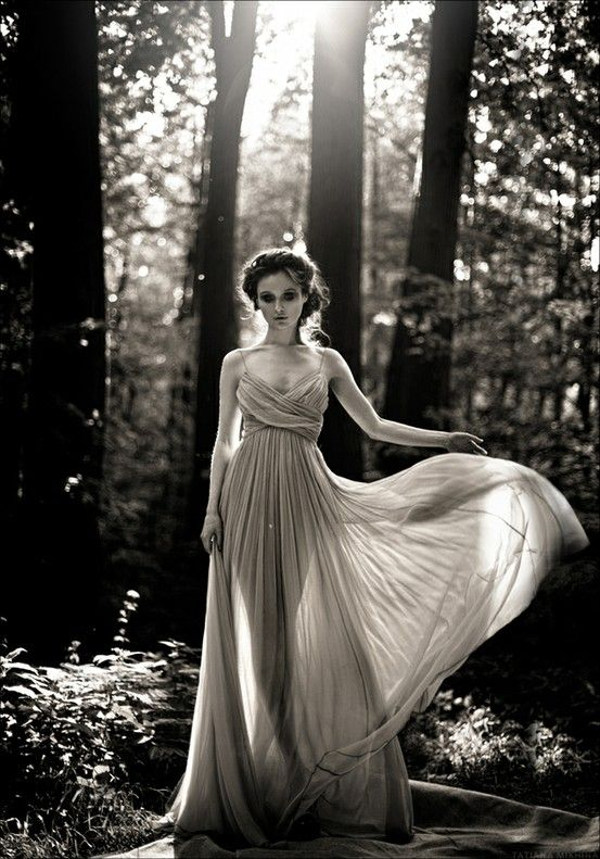black and white, fashion, forest, long dress