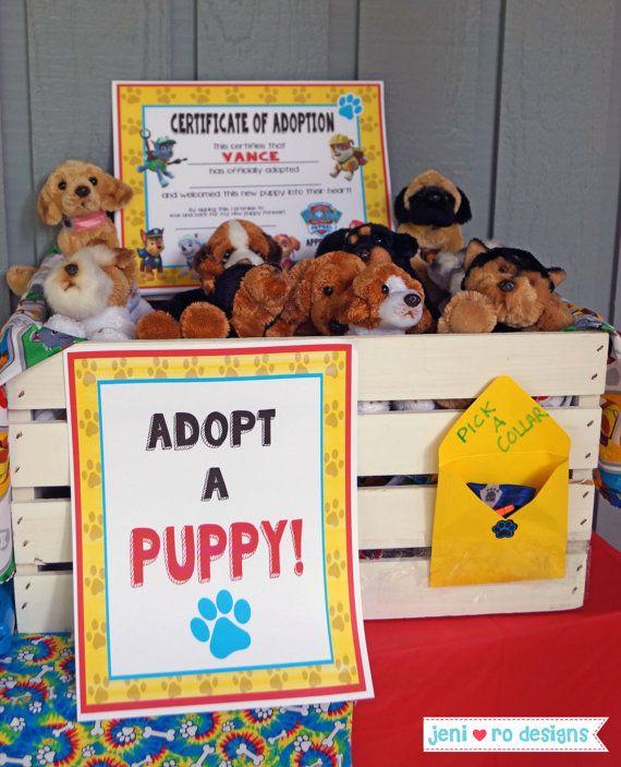 Paw Patrol Puppy Birthday printable Adopt a Puppy by jenirodesigns