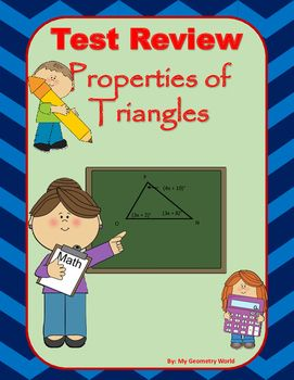Students will review learned concepts of Properties of Triangles including classifying triangles, exterior angles of triangles, perpendicular bisectors of triangles, angle bisectors, medians, & altitudes of triangles.  This review will give students an idea of what concepts they have mastered and what areas they need additional help on to achieve mastery.