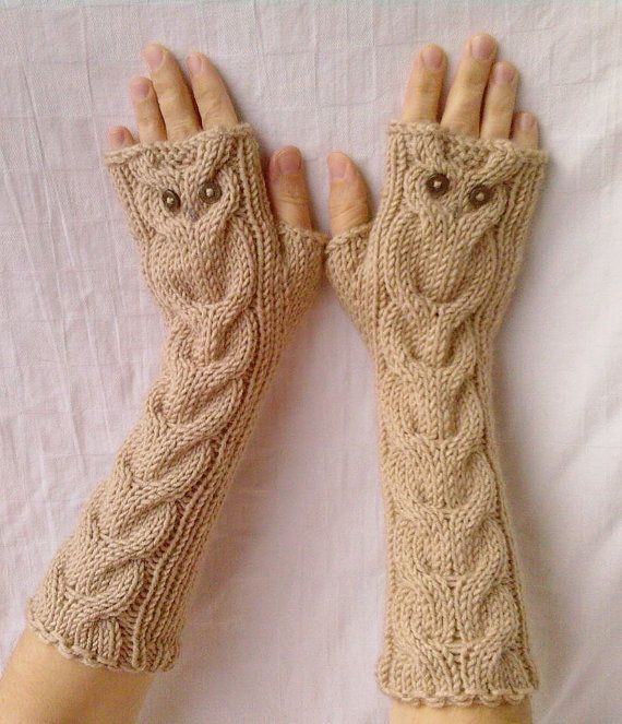 Owl Oatmeal Long Hand Knit Cable Pattern Fingerless Gloves