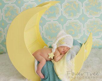 Sombrero de luna de bebé, foto recién Prop, sombrero de tiempo soñoliento, Luna y estrella Hat, recién media tapa, sombrero de elfo recién, sombrero de Longtail infantil