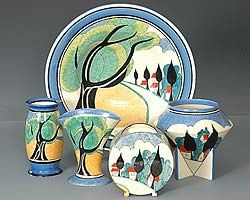 A group of much sought after 'May Avenue' design Clarice Cliff Art Deco pottery from 1931