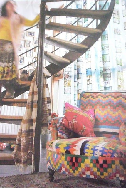 what a great chair, and stairs, and curtains.. OK I love everything.