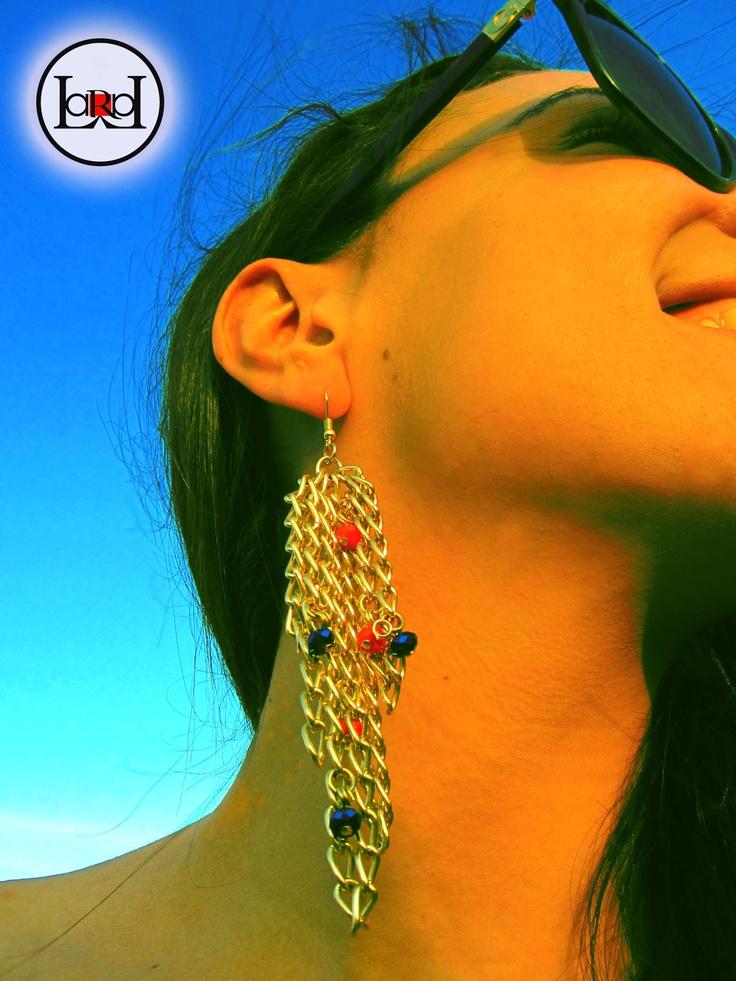 Red blue chain earrings