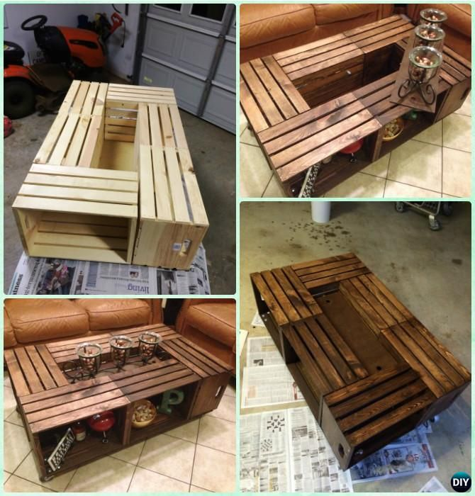 DIY Wine Wood Crate Coffee Table Free Plans - Six-Crate Coffee Table