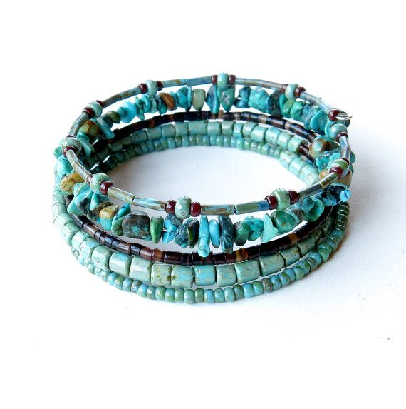 Beaded bracelet stack  turquoise & brown stacking by dalystudios, $20.00