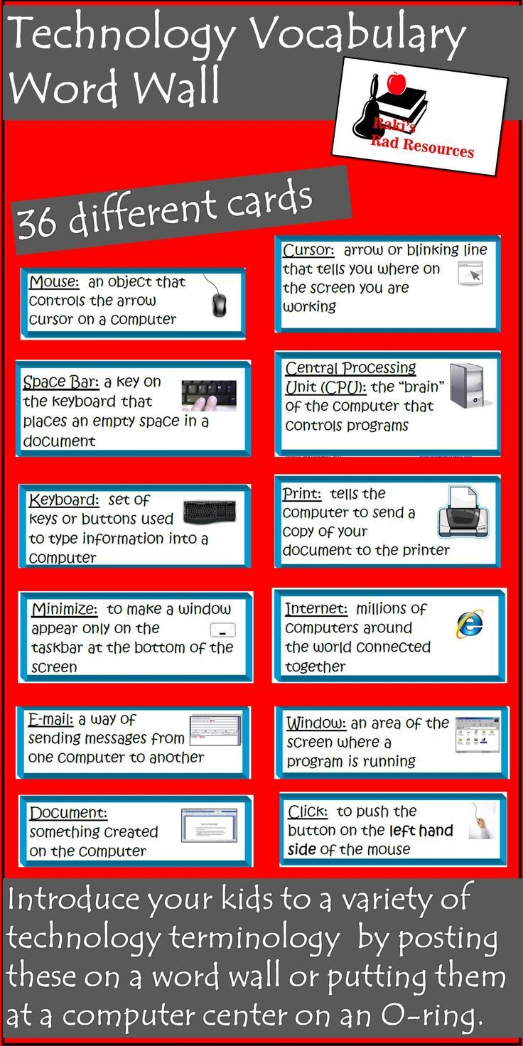 Vocab list for technology words!