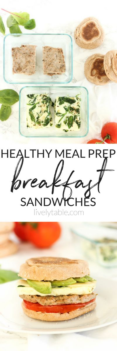 These healthy meal prep breakfast sandwiches with spinach, egg whites, turkey sausage and whole grain English muffins are the perfect quick, easy and nutritious breakfast to fuel your busy mornings! | make ahead breakfast, easy breakfast, healthy breakfast sandwich | via livelytable.com