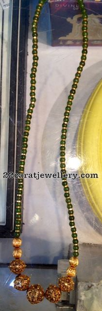 Jewellery Designs: Green Jades and Gold Beads Set