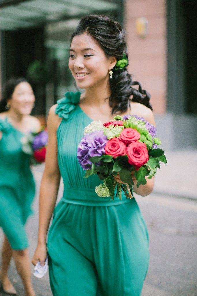 nicholau-nicholas-lau-interracial-wedding-korean-bridesmaid-teal-aqua-dress-one-shoulder-bouquet