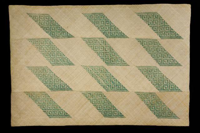 "Whariki made from kiekie by Dame Rangimarie Hetei, pattern is ""Karu o te Whenua"", Waikato Museum collection"