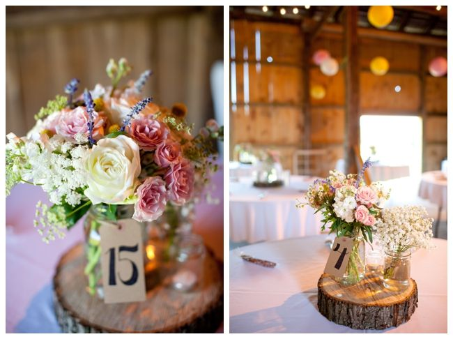 Rustic Colorful Summer Wedding at Cloverdale Barn in Winchester, VA: rustic mason jar centerpieces by Bluebells Lauryn Galloway Photography