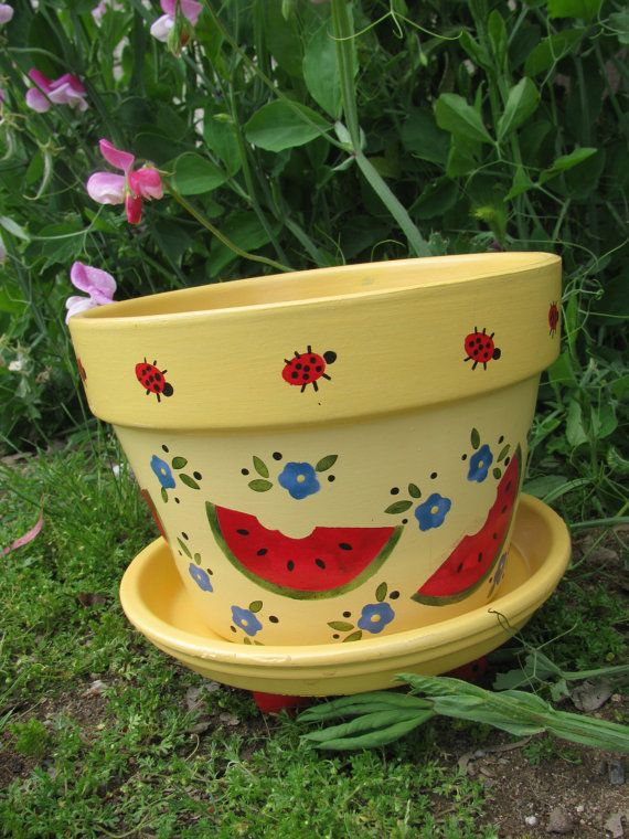 Watermelon Ladybug Flower Pot by bubee on Etsy, $20.00