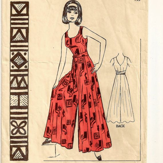 Polynesian Patter #180, A Sleeveless, Round Neckline, V-Back Neckline, Sashed Culottes Style Jumpsuit Pattern by So Sew Some!