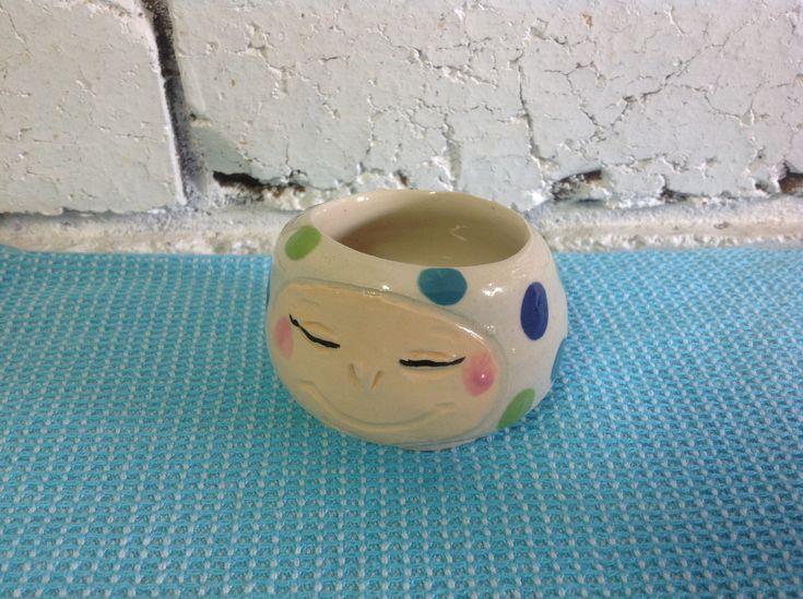 #pottery #ceramics #wheel work #happy face #polka dots #plant holder #small sauce bowl