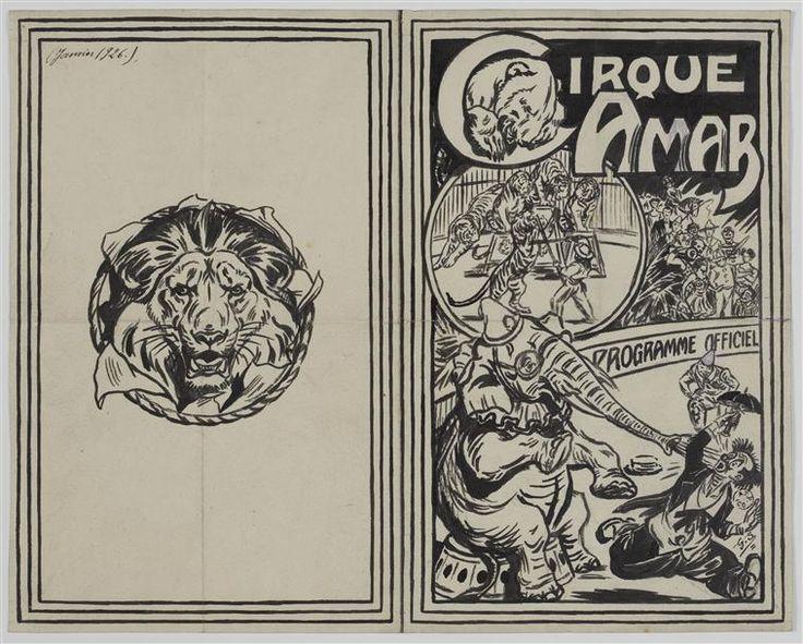 Projet de programme pour le cirque Amar avec quelques numéros de cirque. Gustave Soury, 1926.