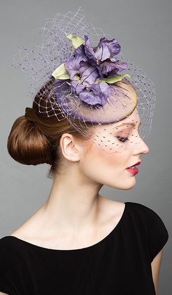 Rachel Trevor Morgan, S/S 2015. Lilac silk pillbox with veil and purple silk flowers. #passion4hats