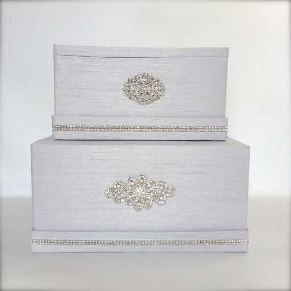 Wedding Money Box Platinum Silver Classic Two by WrapsodyandInk