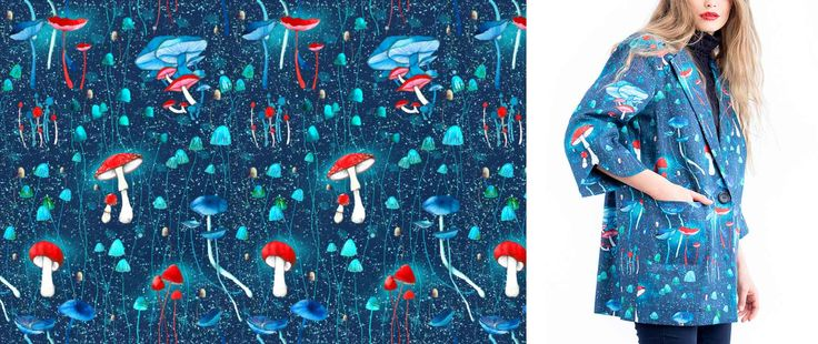 Patterns Ioana Petre-nature pattern design / gouache painting illustration / textile design / print design/textile print/mushrooms pattern