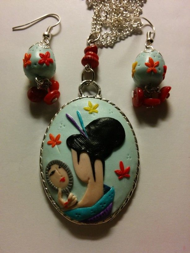 Completo geisha foglie acero by Fimo d'Essai Artist on Blomming