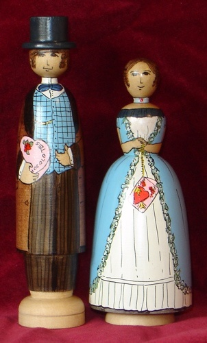 Victorian Valentines painted on white sassafras by Jilli Roberts for the Deepings Dolls.