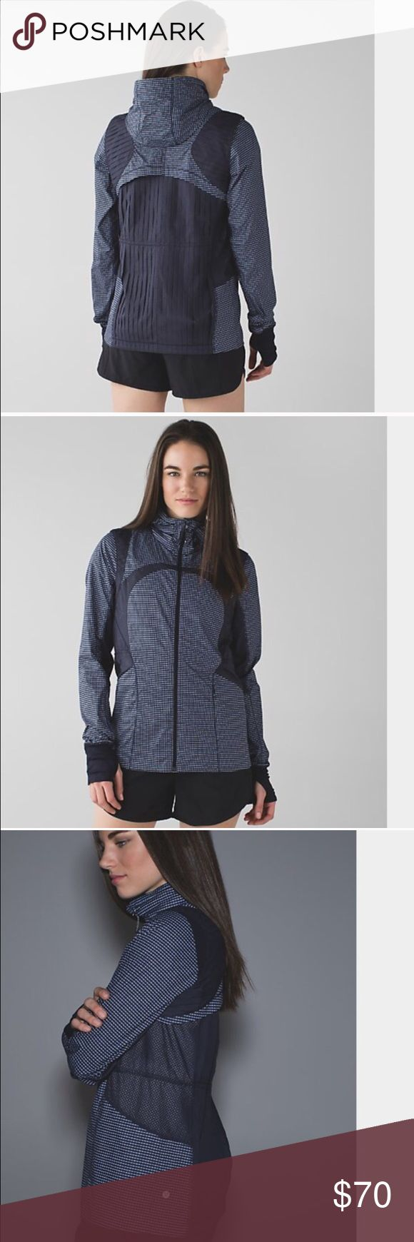 """Lululemon Jacket SIZE 6! """"Vent it out"""" jacket! Sold out in stores!! Bought from another posher, but was too small! It is SO cute! Navy, light blue, and white design! lululemon athletica Jackets & Coats"""