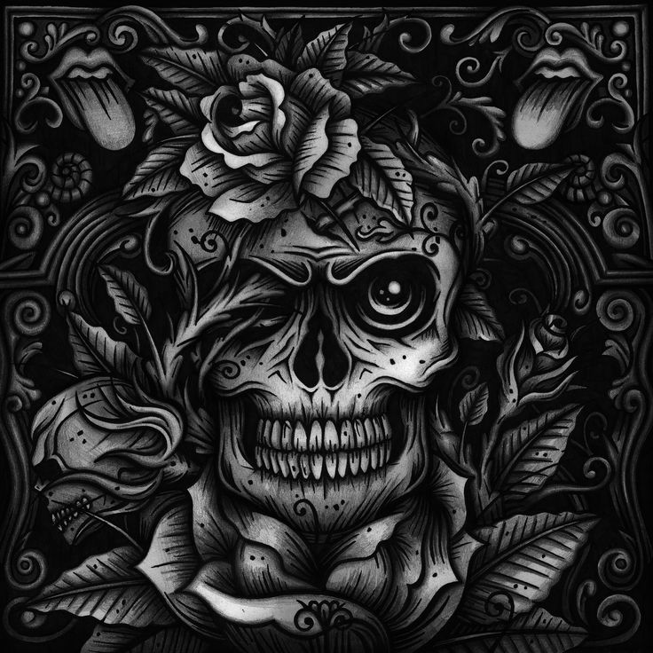 Final version Secret7 record sleeve for the Rolling Stones Dead Flowers track, design and illustration by Matt Carter  roses skulls tattoos black and white