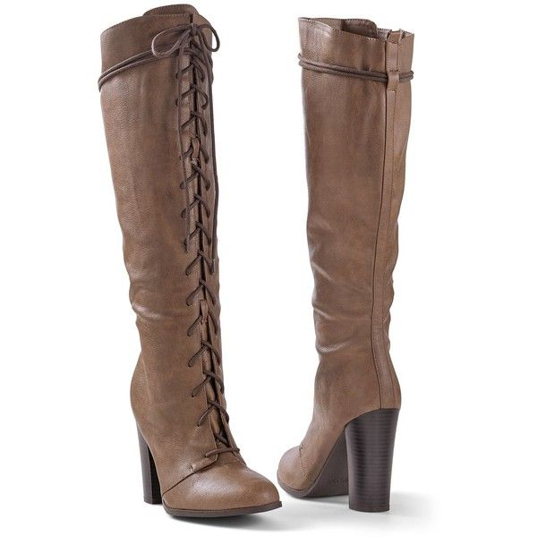 Venus Women's Lace Up Tall Boot ($69) ❤ liked on Polyvore featuring shoes, boots, brown, heels, knee high heel boots, tall lace up boots, tall boots, laced up boots and knee-high lace-up boots