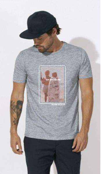 Barcelona Men's Organic Cotton T Shirt Rad from Day One Vintage surfer photo.