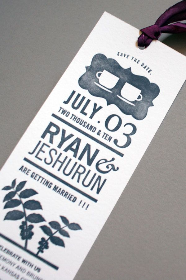 Lovely save the date letterpress bookmarks. What if I did this as a magnet?