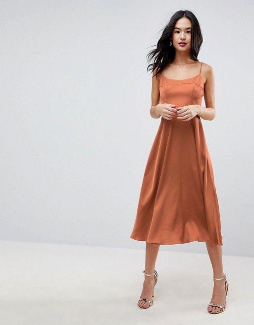 55e80d6341399 Square Neck Cami Dress in Midi Length in 2019 | Fashion | Cami midi ...