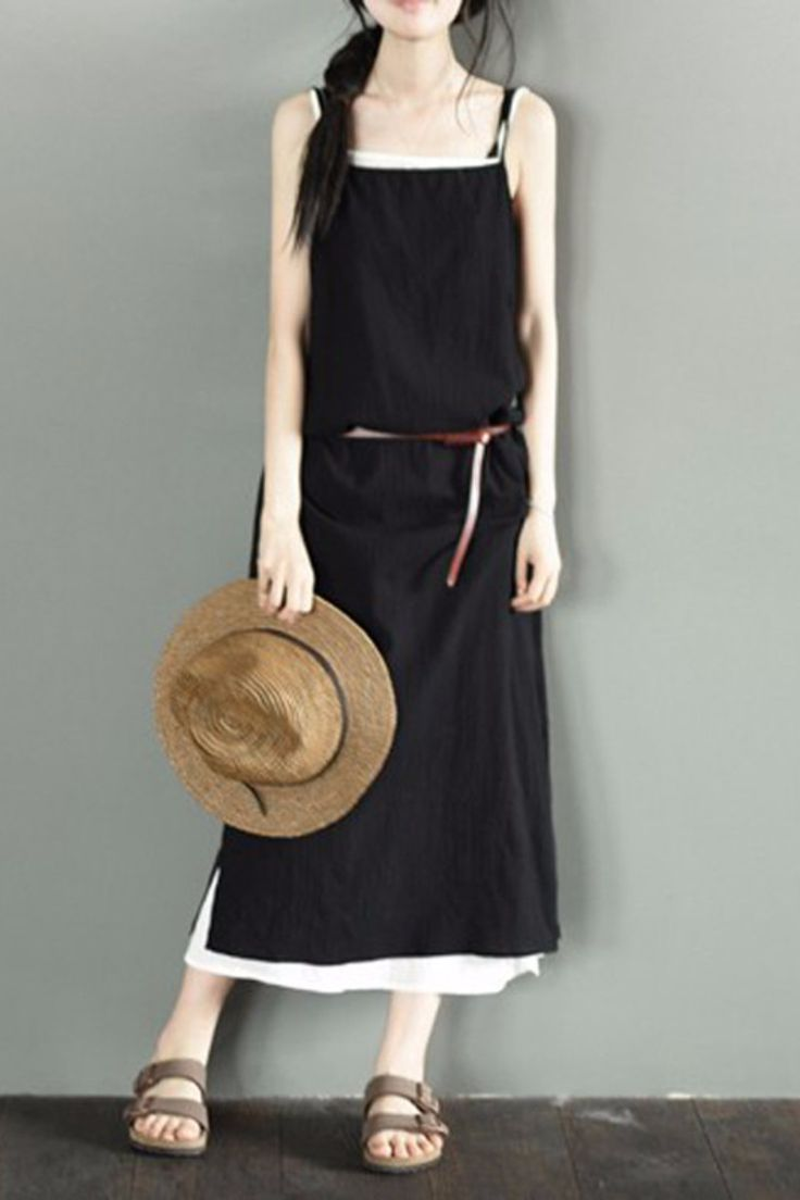 Small Black And White Condole Belt Long Dress Summer Casual Tops LR0032