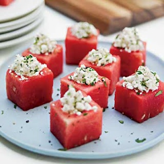 Watermelon  feta - If you've never tried watermelon with feta cheese, you are missing out! It's so good, i've been eating it since i was little. Cut watermelon into cubes and sprinkle some reduced-fat feta cheese on top. Garnish with mint leaves and you're done. You can also do this dish in a chinese porcelain soup spoon so it's easy to eat and still looks chic.