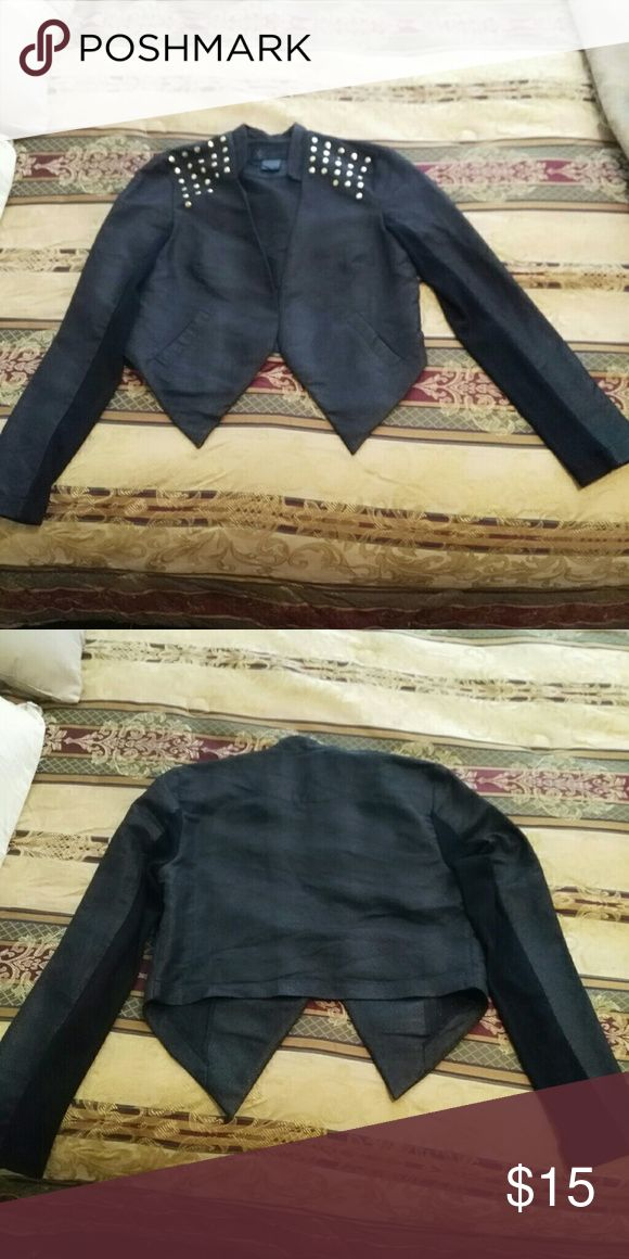 Cropped jacket Black cropped jacket with snake like skin material, . Has a few gold studds in on the shoulder areas. Worn once Kardashian Kollection Jackets & Coats Blazers