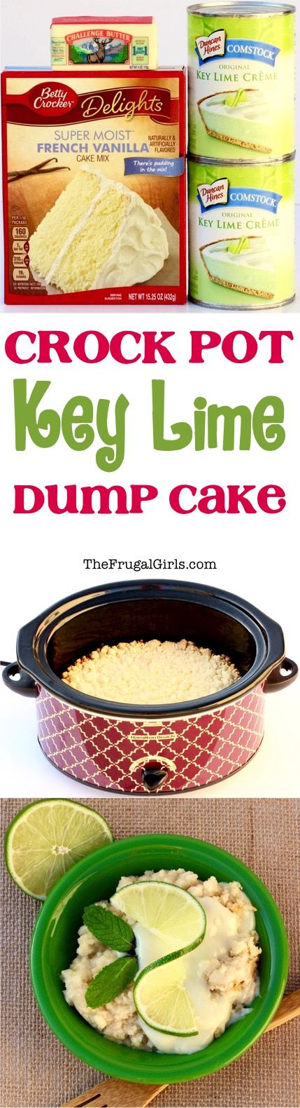 Crock Pot Key Lime Dump Cake Recipe! ~ from TheFrugalGirls.com ~ just a few easy ingredients and you've got Key Lime Heaven in your Slow Cooker... the perfect dessert for your next party or cookout! 4h