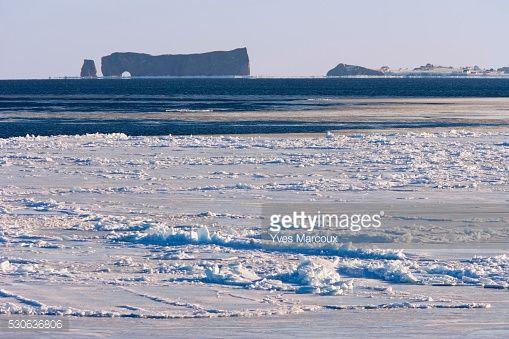Stock Photo : Perce Rock And Ice Floe, Saint-Georges-De-Malbaie, Gaspesie Region, Quebec