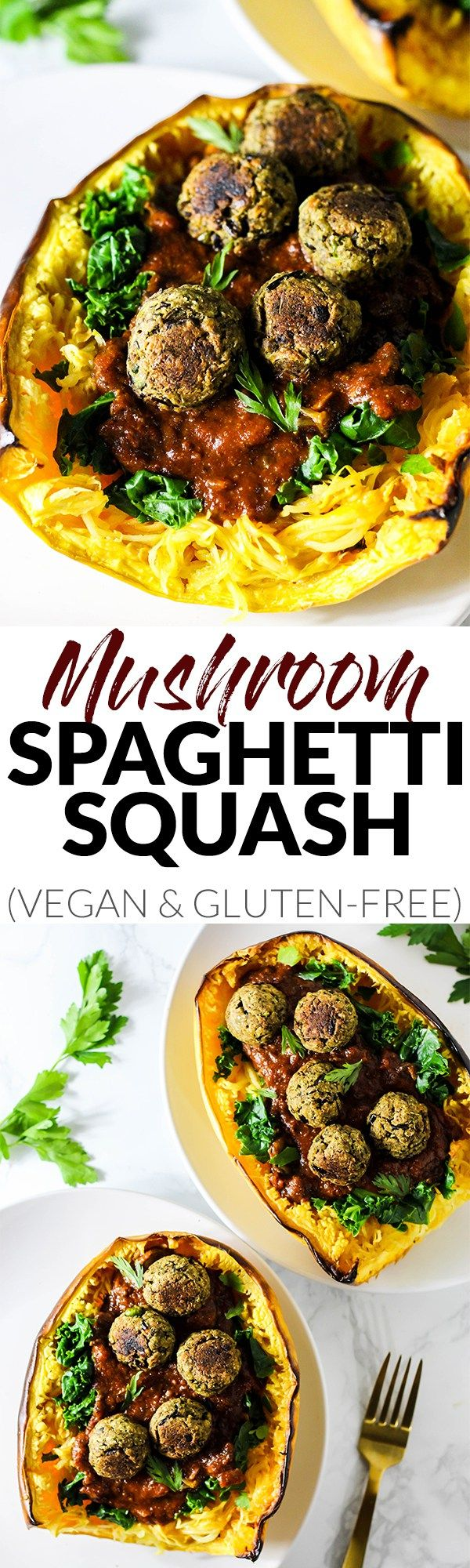 This Mushroom Spaghetti Squash recipe is a delicious, wholesome way to use seasonal squash! It's topped with a hearty mushroom sauce & vegan meatballs. (vegan & gluten-free) @DrPraegers #sponsor